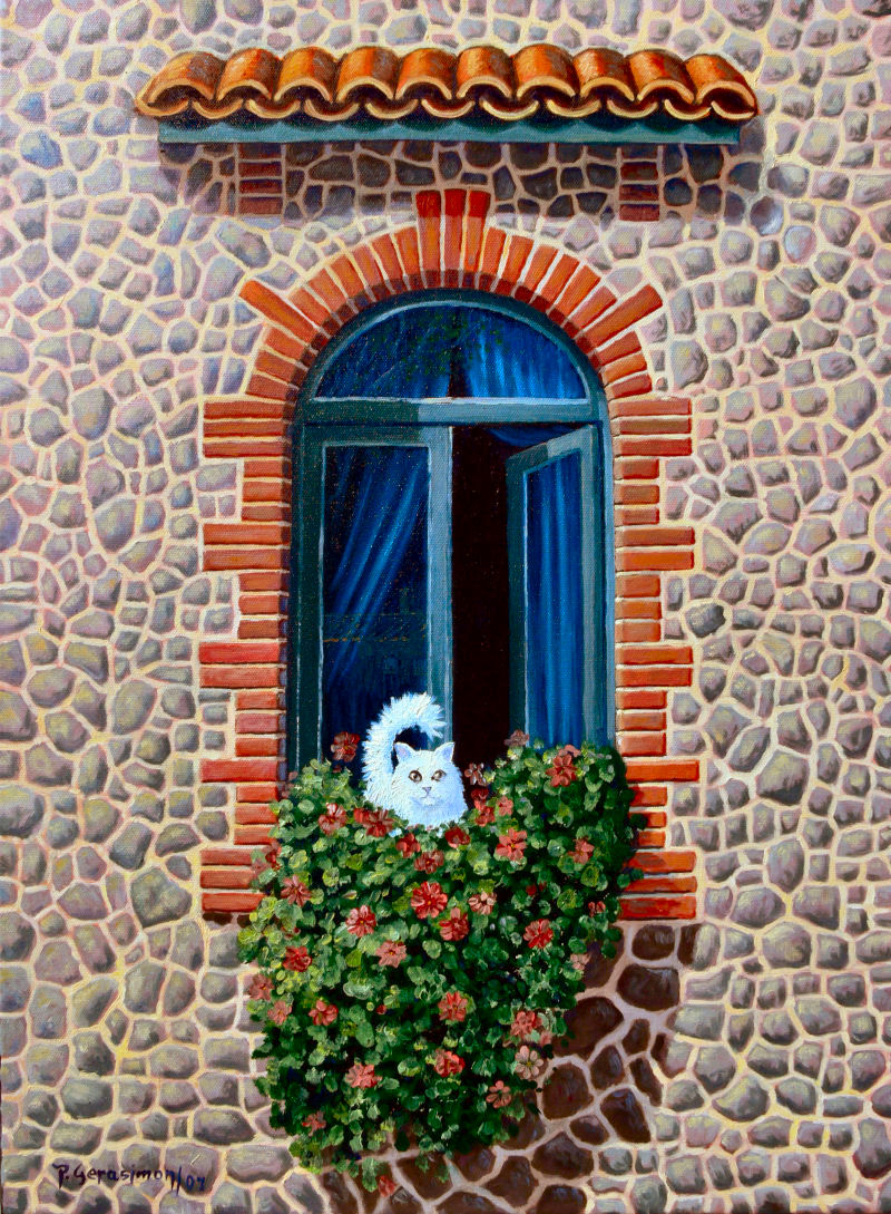 Paintin White Cat at The Window
