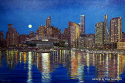 Melbourne by Night Painting by Peter Gerasimon