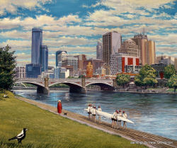 Melbourne Painting by Peter Gerasimon Yarra River